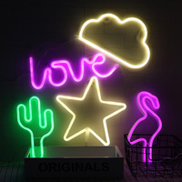 Moon Cloud Star Lightning Love Flamingo Cactus Christmas Tree Lips Neon LED Night Light Festival Party