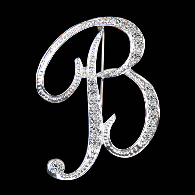 2018 New Crystal English Letter Brooches Pins Rhinestone Silver Plated Dress Coat Lapel Collar Pins Women Men Fashion Jewelry