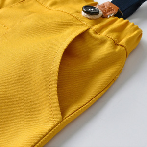 Image 5 - Ropa de niño pequeño, camisa blanca + Pantalones amarillos, traje para niño de 1 a 6 T, traje de otoño, conjunto de ropa infantil con lazo amarillo