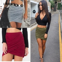Nice Summer Women Skirts Mini Sexy Fold Package Hip Skirt Irregular Bandage Bodycon Cross Fold Skirts
