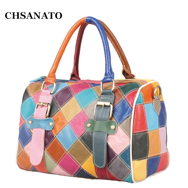 2018 Patchwork Genuine Leather Women s Handbags Cowhide Shoulder Bags Colorful Color Women Cross Body Messenger