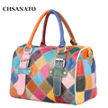 2017 Patchwork Genuine Leather Women's Handbags Cowhide Shoulder Bags Colorful Color Women Cross Body Messenger Bags