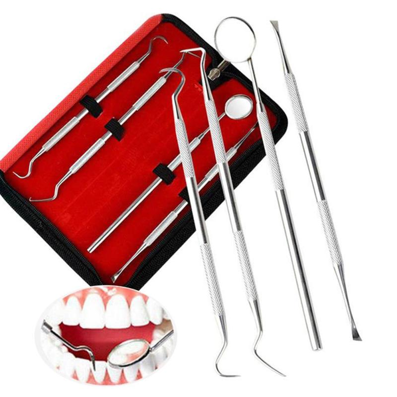 Stainless Steel Dentistry Tools 4pcs Dentist Set Dental Probes Oral Care Tool Mirror Scraper  Teeth Whitening  Clean Tool Set A6  new personal care led oral teeth clean tool kits dental hygeine explorer dental mirror plaque remove tooth stain eraser