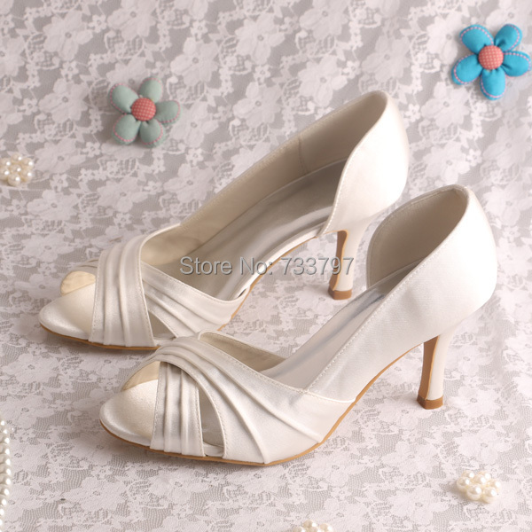 20 Colors High Quality Cream Wedding Shoes Satin For Women Medium Heels Size 4