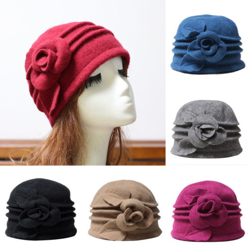 2017 Winter Vintage Women Flower Wool Felt Bucket Hat Packable Foldable Cloche Beanie Cap ladies autumn winter felt hat vintage bowler cloche hat