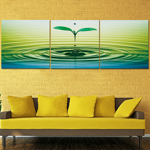 Modern Flower In Water Canvas Painting 3 Pieces Flower Wall Art ...