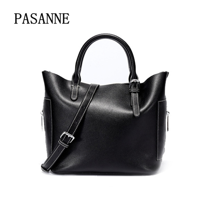 Fashion Women Bag Genuine Leather PASANNE 2018 Natrual Leather Shoulder Bags with Pockect Casual Bucket Tote Fashion HandbagsFashion Women Bag Genuine Leather PASANNE 2018 Natrual Leather Shoulder Bags with Pockect Casual Bucket Tote Fashion Handbags