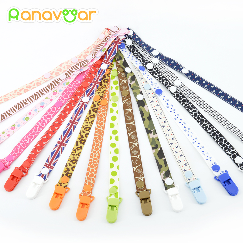 купить Baby Pacifier Clip Chain for soothers Ribbon Chupetas funny Soother dummy holder Leash Strap Nipple Holder Infant Feeding по цене 76.16 рублей