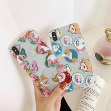 Cute Cartoon Seven Dwarfs Princess Phone Case For iphone Xs MAX XR X 6 6s 7 8 plus Simple and Clear Couple Soft TPU back Cover