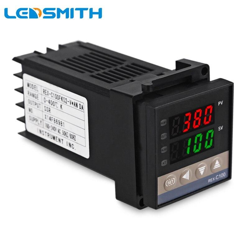 LEDSMITH PID Numérique Contrôleur de Température Thermostat REX-C100 220 V AC Avec 40A SSR Solid State Relais Et K Thermocouple Sonde