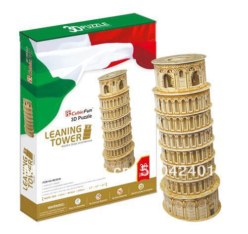 Leaning Tower Building CubicFun 3D educational puzzle Paper & EPS Model Papercraft Home Adornment for christmas birthday gift series s 3d puzzle paper diy papercraft double decker bus eiffel tower titanic tower bridge empire state building