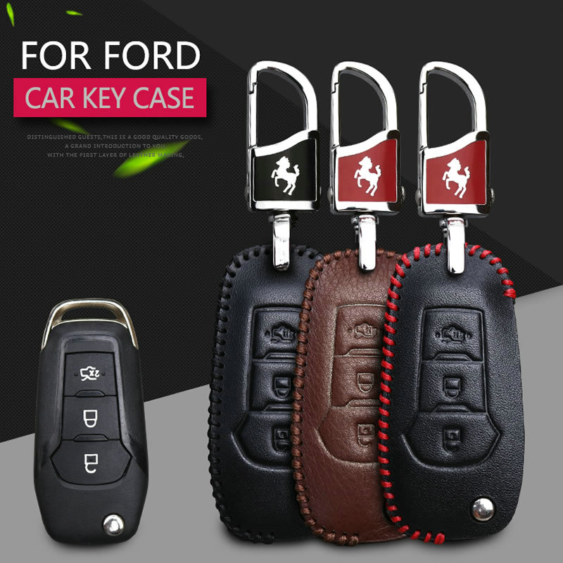 KUKAKEY Genuine Leather Key Cover For Ford Mondeo Escot Remote Flip Key Case Bag Holder Car Cover Bag