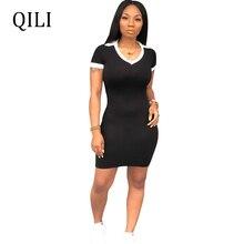 QILI Summer Women Short Sleeve Dress V neck Sheath Patchwork Mini Dresses Warp Hip Casual Blue Black Red 6 Color