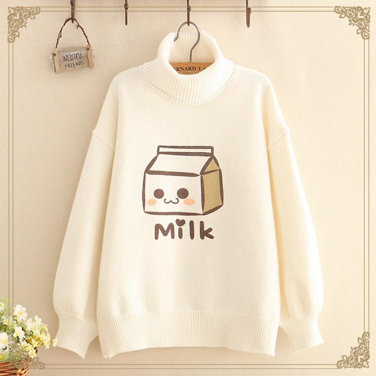 Kawaii Long Sleeve Turtleneck Milk Sweater 1
