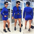 Blue Formal Macaquinhos De Short Feminino Sexy Rompers Womens Jumpsuit 2016 Spring Two Piece Blazer And Shorts Set Mono Mujer