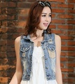 Fashion Denim Vest Women Cotton Vintage Waistcoat Slim Jeans Vest Plus Size Ladies Denim Sleeveless Jacket Woman Waistcoat