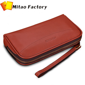 Russia market crazy sale portable leather lady wallet in zipper open way arc design upper brown color shopping card wallet