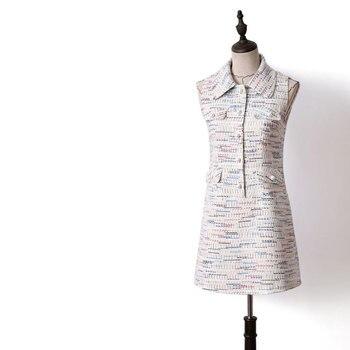 Pearls Single Breasted Plaid Sleeveless Sweet Turn Down Collar Dress Women 2019 Spring Autumn Elegant Dresses Y107