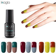 Inagla vernis à ongle UV de 8 ml, changement de couleur, vernis à ongles, vernis à ongle thermique, trempage, Gel à base de LED, Semi-Permanent(China)