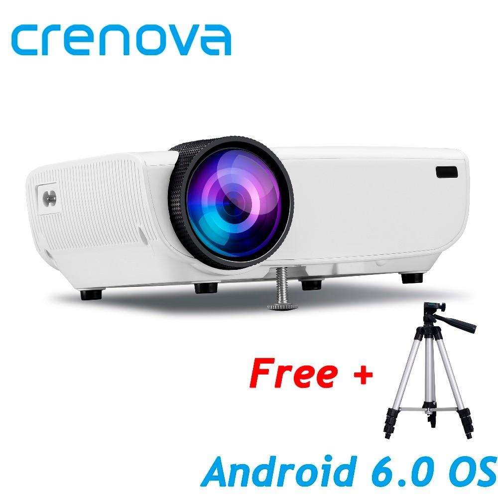 CRENOVA Neueste Video Projektor Für Volle HD 1080 P Android 6.0OS WIFI Bluetooth Home Theater Film Projektor Mit Stand HDMI kabel