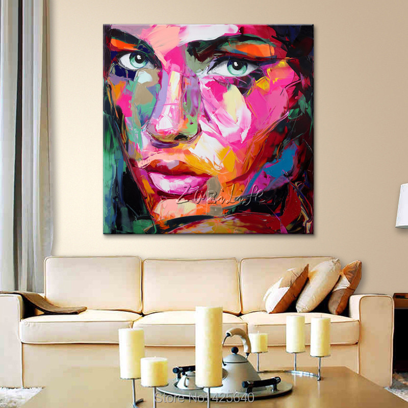 Francoise Nielly canvas Painting Palette knife Face oil painting wall art pictures for living room home decor caudros decoracion - 2