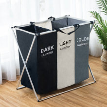 Laundry Basket sorter Dirty Clothes 2 3 Grids Storage Basket Hampe Collapsible Waterproof Folding Large Laundry sorter Hamper(China)