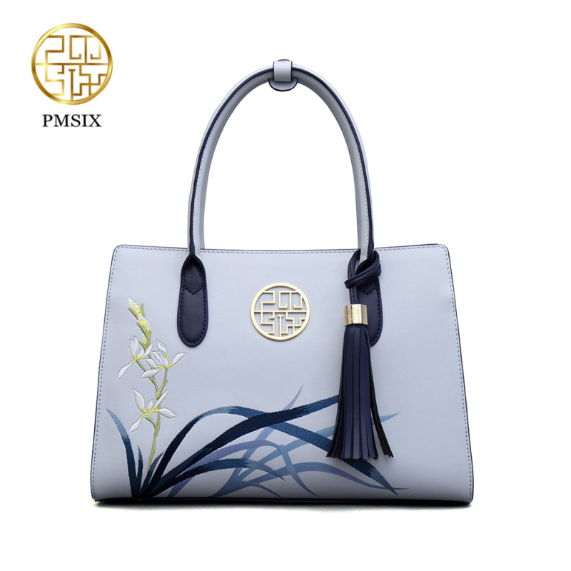 Pmsix New fashion handbags for women Embroidery Flowers Leather Tassel Shoulder bag Blue Ladies Tote Bag solid soft classic bagsPmsix New fashion handbags for women Embroidery Flowers Leather Tassel Shoulder bag Blue Ladies Tote Bag solid soft classic bags