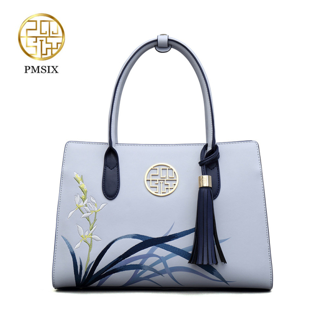Pmsix New fashion handbags for women Embroidery Flowers Leather Tassel Shoulder bag Blue Ladies Tote Bag solid soft classic bags