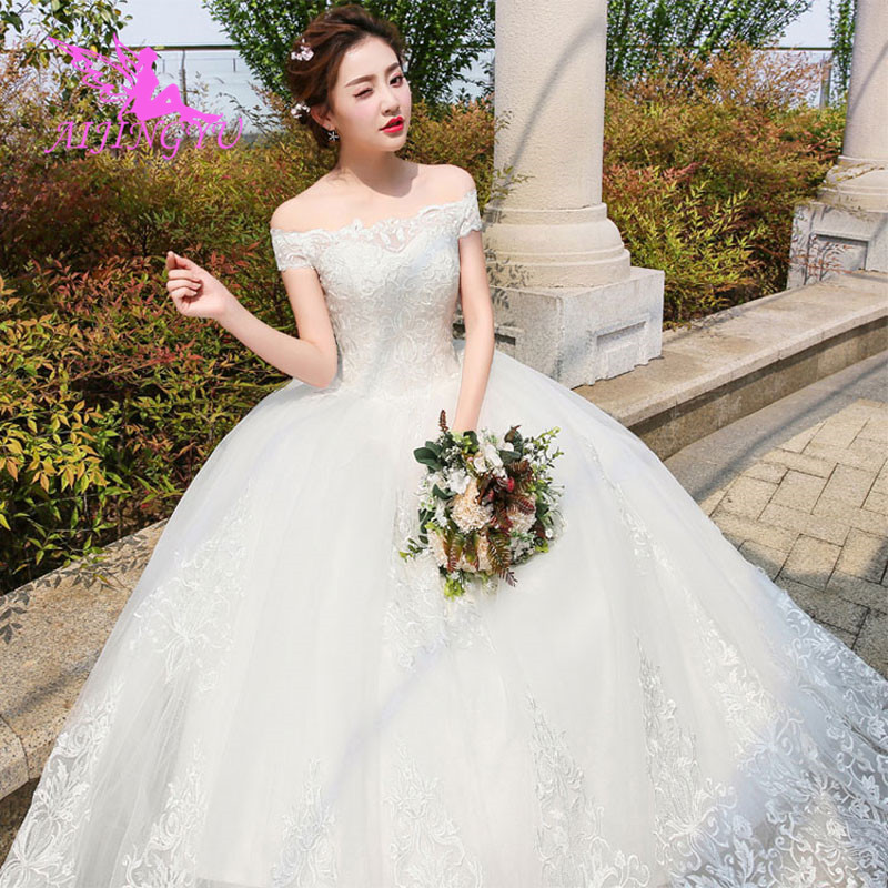 AIJINGYU 2018 Sweet Free Shipping New Hot Selling Cheap Ball Gown Lace Up Back Formal Bride Dresses Wedding Dress WK449
