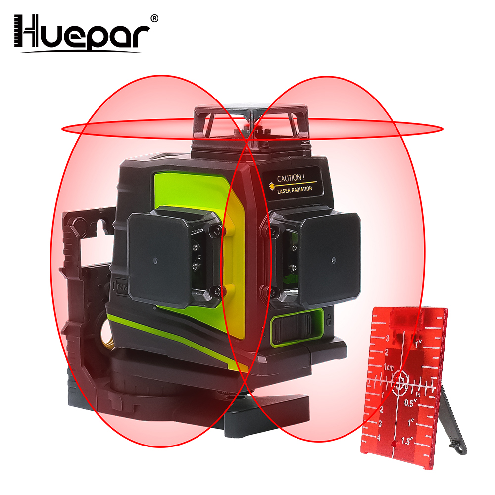 Huepar 12 Lines 3D Cross Line Laser Level Self-Leveling 360 Degree Vertical & Horizontal Cross Red Laser Beam Line USB Charging