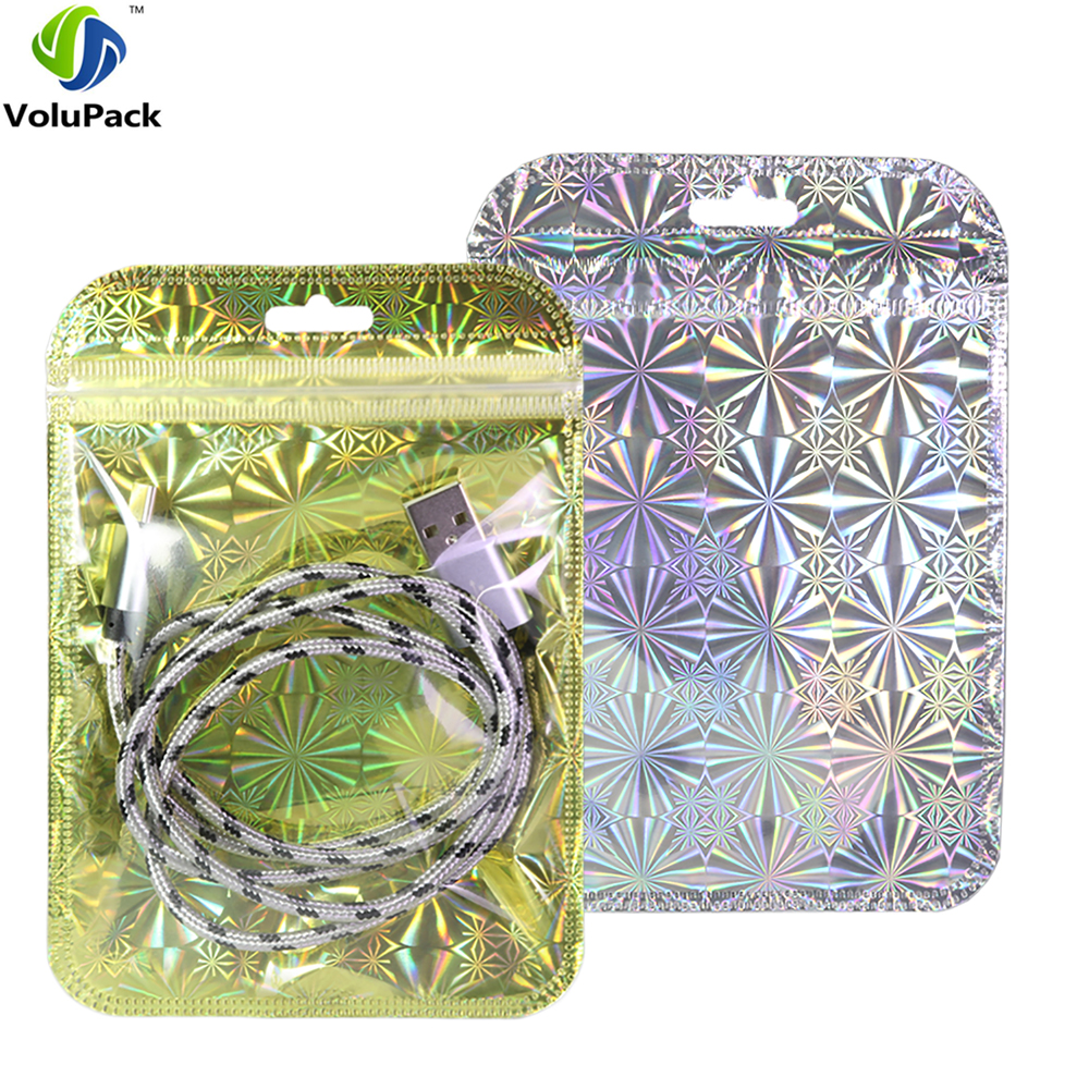 10x15cm 4x6in Glittery Silver Gold Translucent Plastic Retail Package Bag Reclosable Flat Zip Lock Bag With Hang Hole in Storage Bags from Home Garden