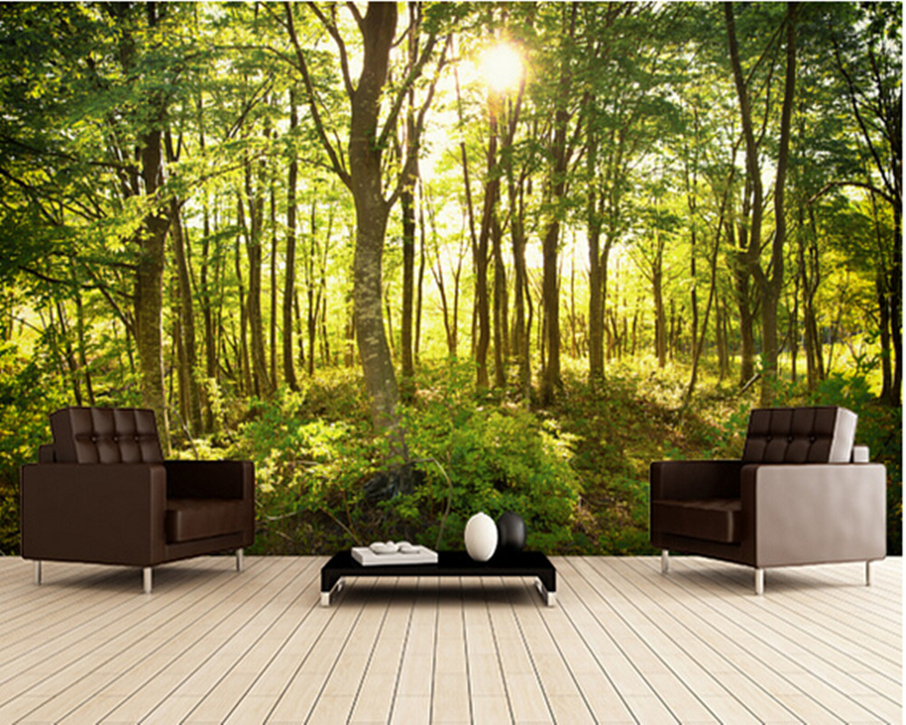 Custom natural wallpaper enchanted woodland 3d landscape for Wallpaper of home wall