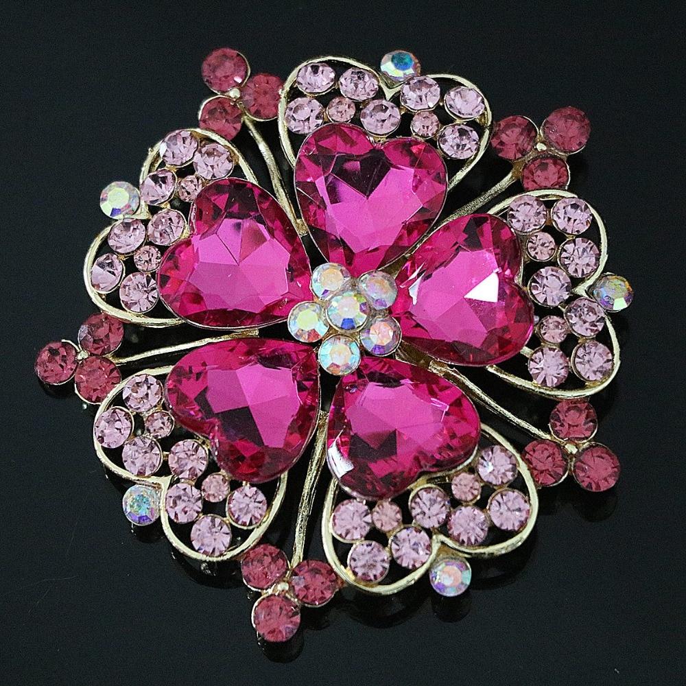 ▻large flower brooch fashion womem 8 colors rhinestone crystal gold ...