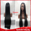 wholesale cheap black silky straight long hair glueless synthetic full lace wig heat resistant lace front wigs for black women