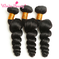 Wonder Beauty hair weaves Non-remy Hair one bundle only 8-26 inches natural black color Malaysian loose wave free shipping