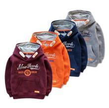 110-150 Children Sportswear Boys Hooded fleece Kids Baby Letters printed fleece top Primer shirt wholesale