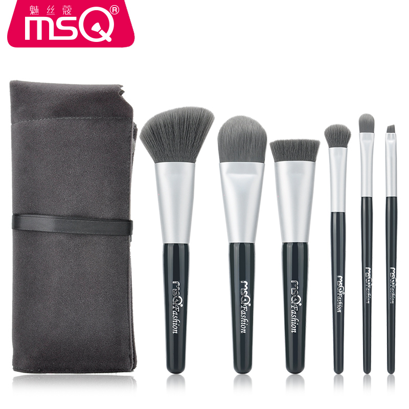 MSQ 6pcs High Quality Professional Cosmetic Makeup Brush Set With Soft Fluffy Hair and Comfortable Flannelette Bag msq 6pcs makeup brush set professional