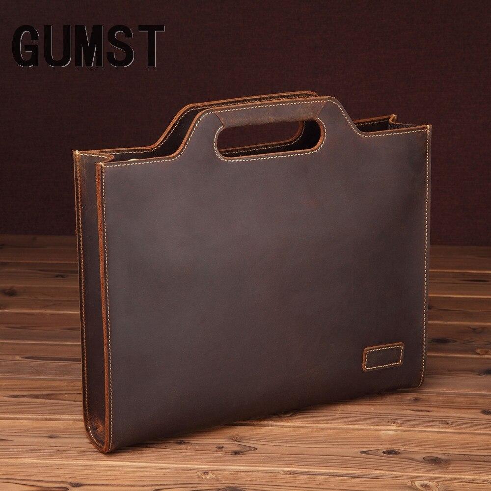 GUMST Genuine Leather Men's Handbag Retro Crazy Horse Leather Men Tote Bag Shoulder Messenger Business Men Briefcase Laptop Bags