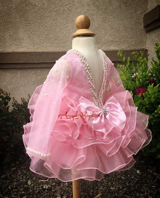 Bling Beaded Pearls Crystals pink Lace flower girl dresses with bow lovely wedding birthday parties tulle ball gowns