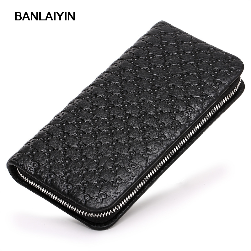 Zipper Mens Wallet Embossing Leather Genuine Designer Male Phone Purse Famous Brand Clutches Wallet Business Long Clutch Bag 2015 famous brand mens genuine leather business wallet man male multifunction large capacity clutch bag handbag wallet purses