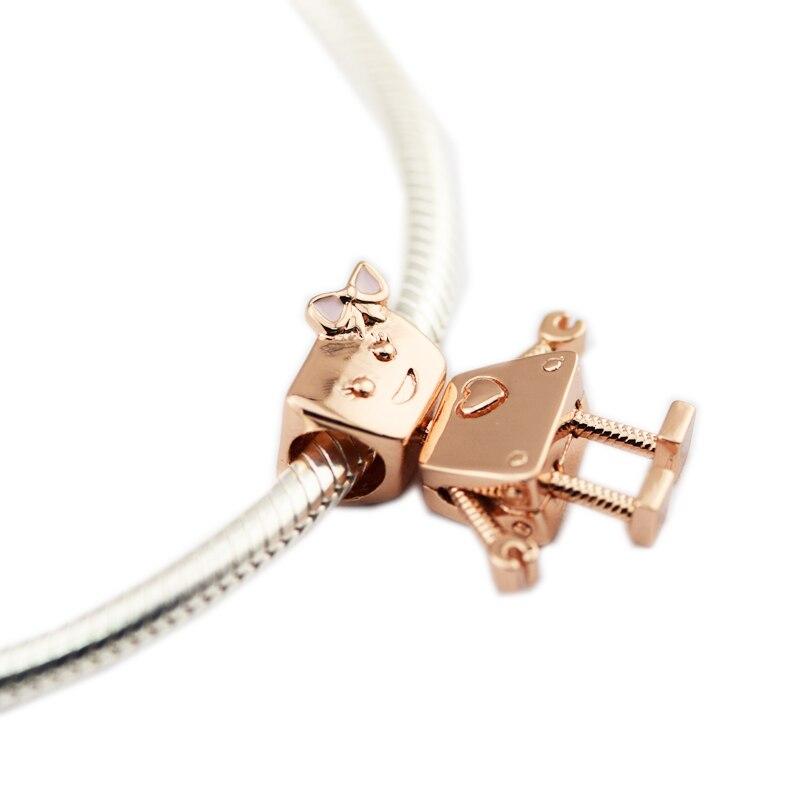 Pandulaso 2018 nueva primavera plata 925 joyería rosa de oro encantos para la joyería haciendo Robot Bella encantos DIY Fit pulseras originales