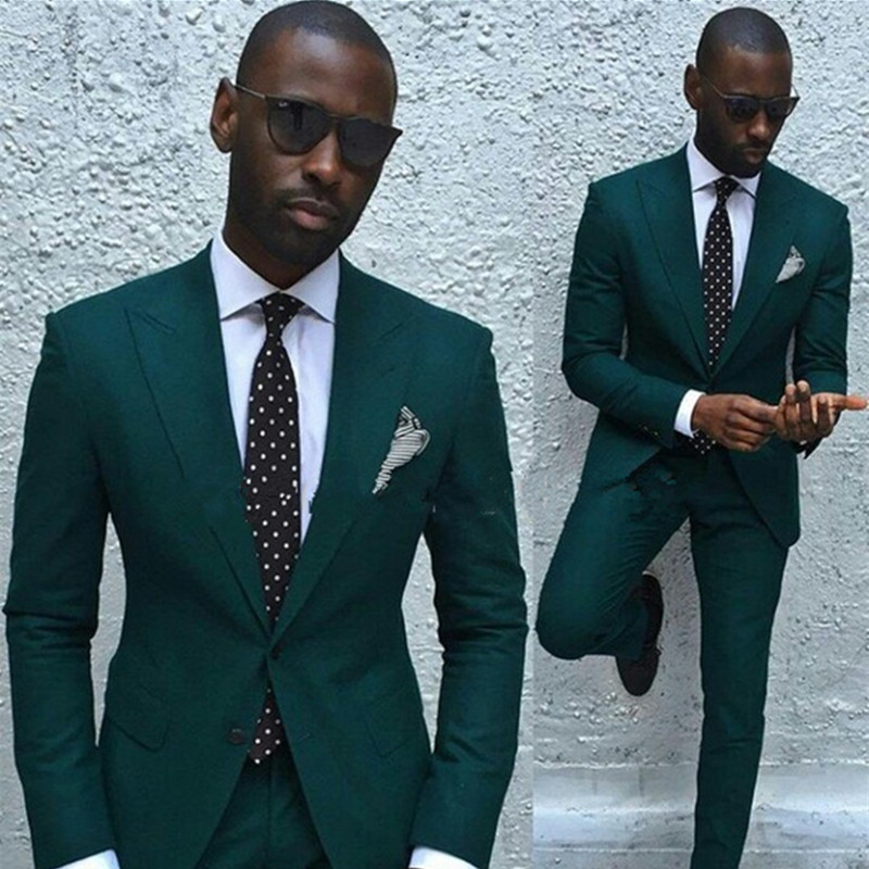 Latest Coat Pant Designs 2017 Groom Suit Dark Green Tuxedos Mens Suit Best Man Slim Fit Wedding Suits For Men (Jacket+Pants+Tie)