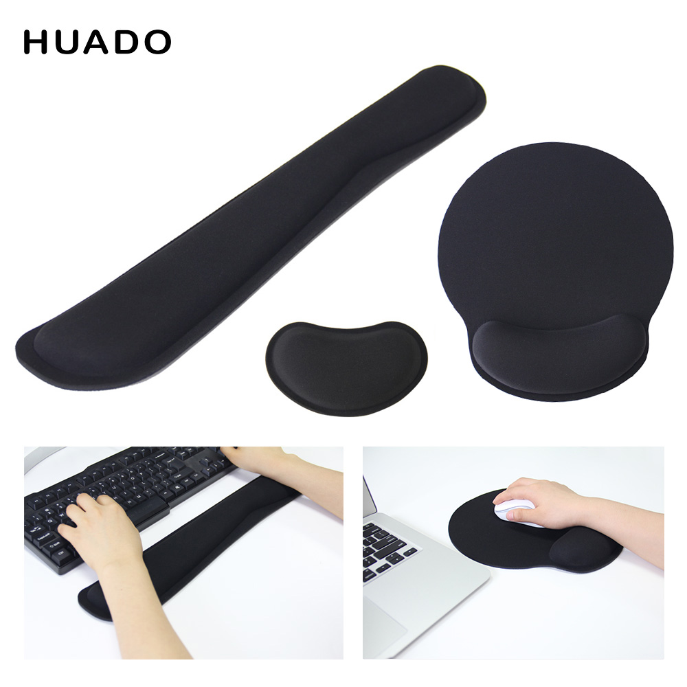 Black mouse pad with wrist support non slip keyboard rest mat for gaming comfort hand rest mousepad for laptop computer gamer