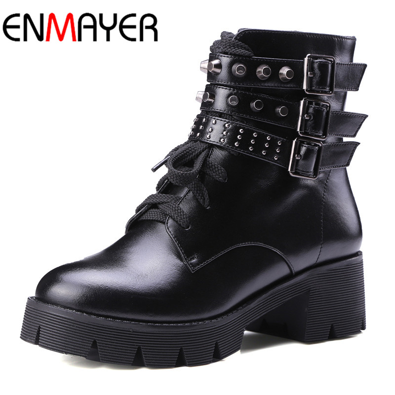 ENMAYER New Fashion Ankle Boots for Women Squre Heels Winter Warm Boots Shoes Woman Black Classic Motorcycle Boots Size 34-43 enmayer new boots arrivals fashion motorcycle boots high heels shoes for women full grain leather boots