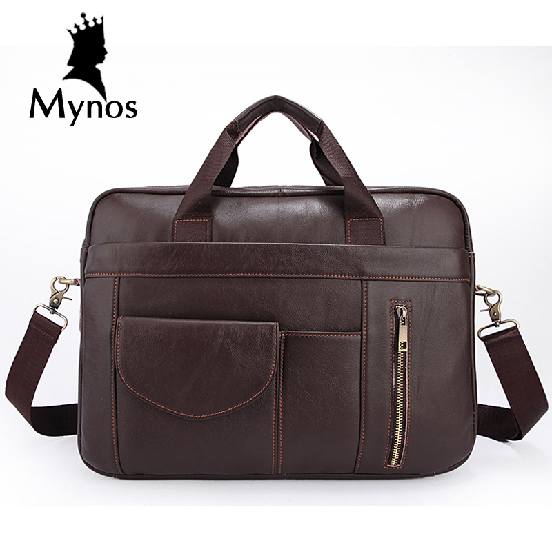 MYNOS High Quality Cow Leather Men Bag Business Leather Briefcase Men Tote Bag For Men Genuine Leather Laptop Bag Men Handbags телевизоры и плазменные панели