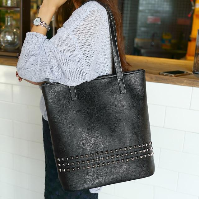 Tinkin New Arrival Autumn Bag Large Size Women Shoulder Bag Daily Vintage Women Messenger Bag Causal Rivet Bag