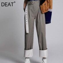 DEAT/ модные новые клетчатые свободные винтажные брюки с поясом модные повседневные осенние темпераментные штаны, Лидер продаж BE137