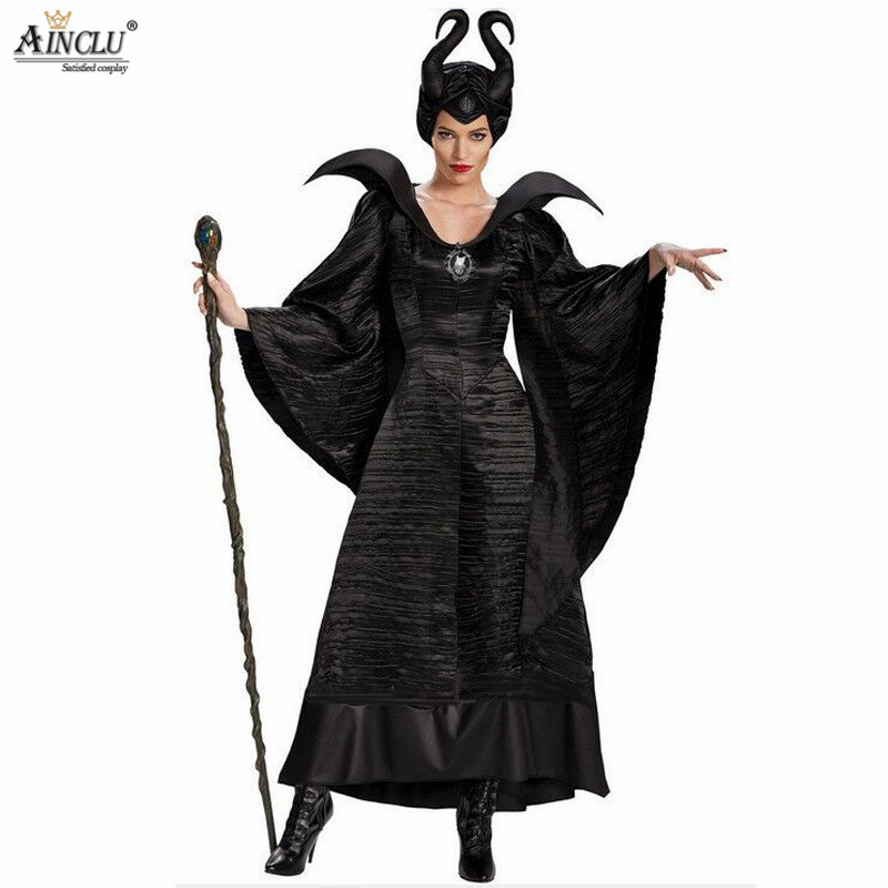 Ainclu Maleficent Halloween Costumes for women Witch Cosplay Fairy Tale Sleeping Beauty Curse Witchcraft Black Dress Horns