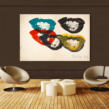 Pop Canvas Art handmade oil Painting The Lips Andy warhol Wall Pictures abstract picture For Living Room restaurant Home Decor