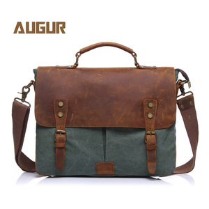 Image 1 - Augur nova moda masculina do vintage bolsa de couro genuíno bolsa de ombro saco do mensageiro portátil maleta mochila caber 14 polegada portátil